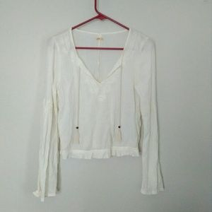 Hollister boho embroidered ivory crop top